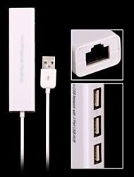 белый 1 порт USB сеть с 3 портовый USB-концентратор к женской RJ45 Ethernet LAN адаптера