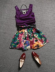 Women's Round Collar Velvet Vest + Floral Skirt Suit European Style (Vest & Skirt)