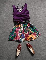 Frauen runden Kragen Samt Weste + Rock Anzug Blumen europäischen Stil (Weste&Rock)