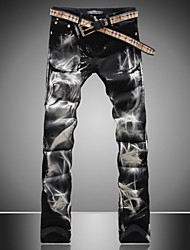 Men's Wolf Printed Flower Pants Denim Jeans