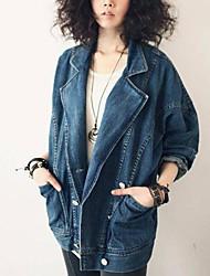 silhueta oversize vintage denim outerwear das mulheres