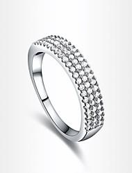 moda quatro fileira das mulheres de zircão prateado anéis de instrução (1 pc)