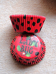 Red Ladybug Pattern Cupcake Wrappers-Set of 50