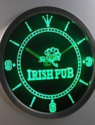nc0381 Shamrock Irish Pub, Bar, Club Leuchtreklame LED-Wand Uhr