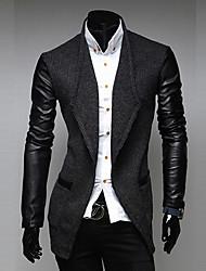 casaco de couro splicing manga tweed homens D2P (cinza escuro)