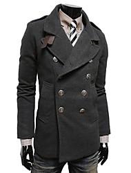 double boutonnage mode couleur unie occasionnels de Beilun hommes épaissir tweed manteau o