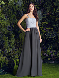 Lanting Sweep/Brush Train Georgette Bridesmaid Dress - Multi-color Plus Sizes / Petite A-line One Shoulder