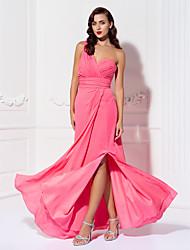 Lanting Bride® Longueur Sol Mousseline de soie Robe de Demoiselle d'Honneur - Fourreau / Colonne Une Epaule Grande Taille / Petite avec