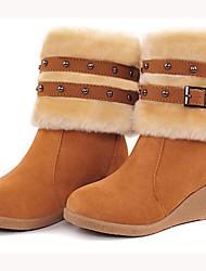 VROUWEN - Booties / enkellaarsjes - Fashion Boots/Gesloten teen/Ronde Teen/Wiggen - Laarzen ( Bruin/Yellow/Rood/Beige ) - met Wedge Heel