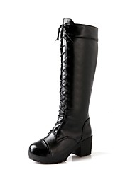 Women's Shoes Round Toe Chunky Heel Knee High Boots with Zipper More Colors available