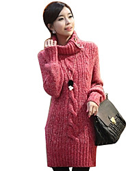 Women's High Neck Contrast Color Loose Fit Leisure Sweater