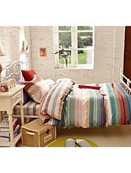 H&C ®  Cotton  Duvet Cover Set  3- Pieces  Stripe and Checker Pattern Purple Green Beige Multi-Color