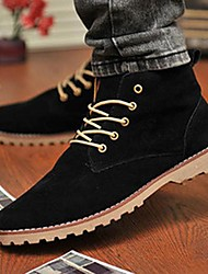 Men's Shoes Leatherette Spring Summer Fall Winter Comfort Boots Lace-up For Casual Black Blue Yellow Green
