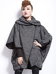 QLZW®Women's Plus Sizes Stripes Personality Coat