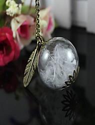 collar de la botella de cristal de cristal de época jura suéter cadena collar de plumas (color surtidos)