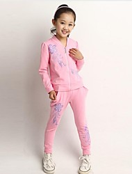Girl's Fashionable Leisure Sweet Floral Sport Clothing Set