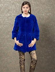 genuína casaco de pele de coelho rex feminina zijindiao®