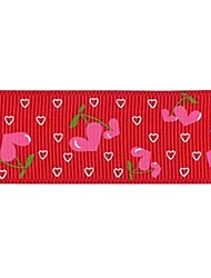3/8 Inch Love Cherry pattern Rib Ribbon Printing Ribbon- 25 Yards Per Roll (More Colors)