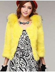 Women's  Short Raccoon Fur Collar Rabbit Hair Wrasse Female Rabbit Fur Coat
