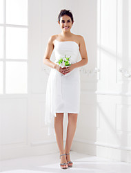Lanting Bride® Knee-length Chiffon Bridesmaid Dress - Sheath / Column Strapless Plus Size / Petite withCriss Cross / Side Draping /