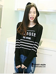 Women'sLetters Printed Stripes, Backing Long-Sleeved T-shirt Unlined Upper Garment Shirts