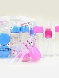 7tlg schönen Hund tragbaren transparent Reise Kosmetik Flasche Set