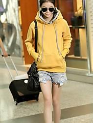 la nouvelle coréen à double casquette rosée des femmes se réfère à la longue manchette tête de manche pull en coton