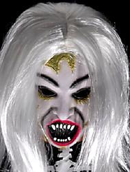 travestimento di Halloween di capelli bianchi spaventoso e maschera viso marcio