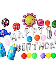 lasca feliz dos desenhos animados de aniversário azul mamadeira set alumínio membrana bebê chuveiro balão