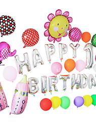 lasca feliz dos desenhos animados de aniversário cor de rosa mamadeira set alumínio membrana bebê chuveiro balão