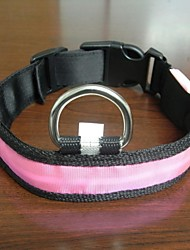 Adjustable Fashionable Flashing Nylon LED Light Pet Dog Collar Safety Collar for Christmas (DD-WT, Pink, L)