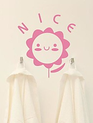 Cartoon Cute face the sun flower Bathroom Stickers