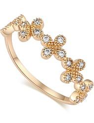 bague de mariage de zircon plaqué fleur de design de mode 18k l'or des femmes