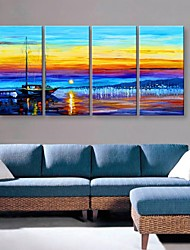 Stretched Canvas Art Beautiful Harbour Landscape Painting Set of 4