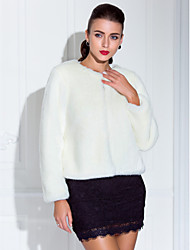Nice Long Sleeve Collarless Faux Fur Casual/Party Jacket(More Colors)