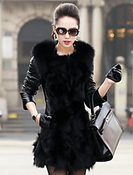 Women's Fashion Luxury Big Lapel  Imitation Fur Warm Coat