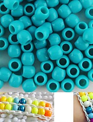 Approx 100PCS 8x9MM Greenish Blue Pearlescent Pony Beads Rainbow Color Loom Bracelet DIY Accessories