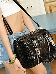 VENCHY Fashion Sequin Single Shoulder Handbag  10083 Black,Cream