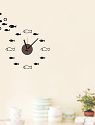 ZOOYOO® music timekeeper DIY round with fish shape black wall sticker home decor for you living room