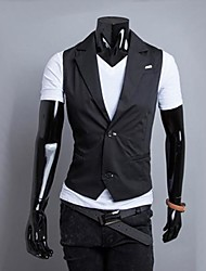 Men's Sleeveless Jacket , Cotton/Polyester Casual/Work/Formal