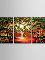 IARTS®Hand Painted Oil Painting Birds Hunting on The Lake with Stretched Frame Set of 3