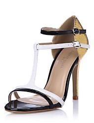 zapatos de las mujeres del dedo del pie abierto sandalias de tacón de aguja con hebilla de zapatos
