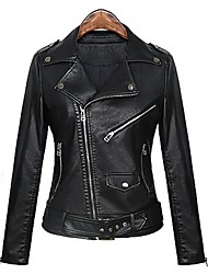 Incern®Women's Lapel Collar Zipper Slim Thin Short Motorcycle Leather Jacket