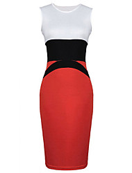 fashion sleeveless contrast color fitted dress