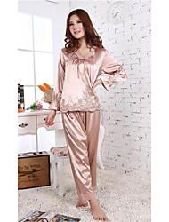 à manches longues de la mode et la broderie des femmes furuixiang® de soie imité pyjama en tissu fixées