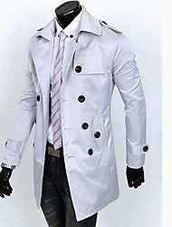 Men's Solid Casual Trench coat,Cotton Long Sleeve-Black / White