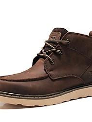 мужская обувь борьбы плоским пятки кожа ботильоны с шнуровке