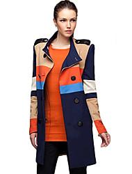 режиме размер женские La двубортный воротник стойка контраст цвета пальто