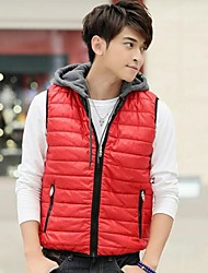 Men's New Solid Color Smooth Zipper Stand Collar Sleeveless Thickening Vest