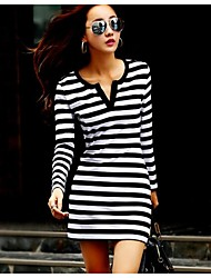 Women's Casual/Daily Dress,Striped Mini Long Sleeve Multi-color Cotton Spring / Fall
